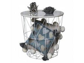 Příruční stolek ENPLO - mramor/bílá