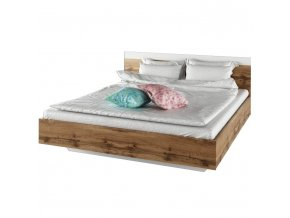 Manželská postel GABRIELA, 160x200, dub Wotan/bílá