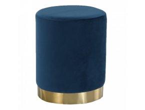 Taburet ALAZ - modrá Velvet látka/gold chrom-zlatá