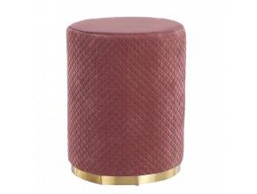 Taburet BARICA - růžová Velvet látka / zlatý nátěr