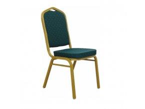 Židle ZINA NEW - látka zelená / matný zlatý rám
