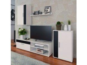 Obývací stěna KEVIN - bílá/černá