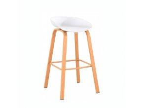 Barová židle BRAGA - bílá/přírodní