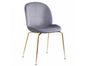 Židle PORTIA, šedohnědá TAUPE/chrom-zlatá