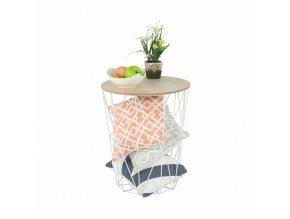 Příruční stolek NANCER TYP 3 - přírodní/bílá