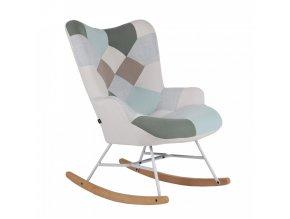 Houpací křeslo GERON, zelená-bílá patchwork/bílá/buk