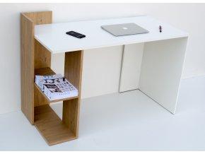 Pracovní stůl OMENA SHELF - dub sonoma/bílá