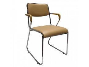 Konferenční židle DERYA - hnědá ekokůže