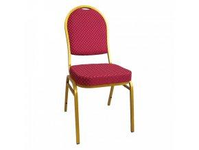 Židle JEFF 3 NEW - červená/zlatý nátěr