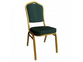 Židle ZINA 3 NEW - zelená/zlatý nátěr