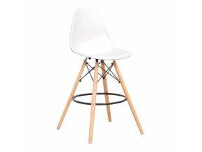 Barová židle CARBRY 2 NEW - bílá/buk
