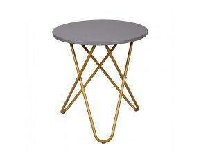 Příruční stolek RONDEL - šedá/zlatý nátěr