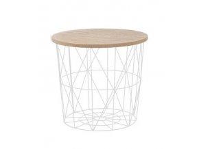 Odkládací stolek Mariffa - deska přírodní/podnož bílá