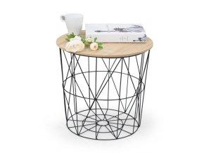 Odkládací stolek Mariffa - deska přírodní/podnož černá