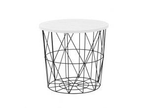 Odkládací stolek Mariffa - deska bílá/podnož černá