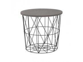 Odkládací stolek Mariffa - deska šedá/podnož černá