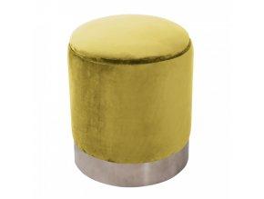 Taburet DARON - zlatá Velvet látka/stříbrná chrom