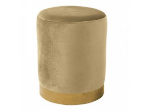 Taburet ALAZ - béžová Velvet látka/gold chrom-zlatá