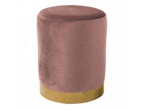 Taburet ALAZ - růžová Velvet látka/gold chrom-zlatá