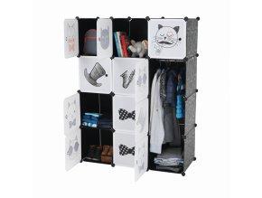 Dětská modulární skříň AVERON, šedá/dětský vzor