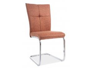 Jídelní čalouněná židle H-190 cihlově červená/chróm