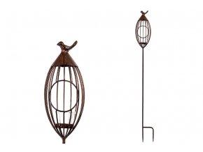Zahradní kovový svícen s ptáčkem UM0828
