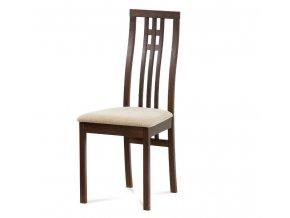 Jídelní židle BC-2482 WAL - ořech, potah krémový - rozbaleno