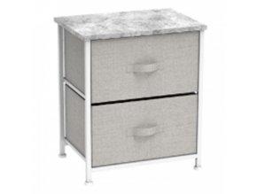 Komoda / noční stolek s látkovými šuplíky ROSITA TYP 1 - šedá / bílá / světle šedá