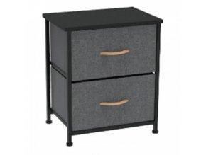 Komoda / noční stolek s látkovými šuplíky PALMERA TYP 1 - černá / tmavě šedá