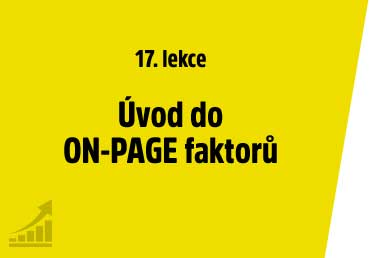Úvod do ON-PAGE faktorů