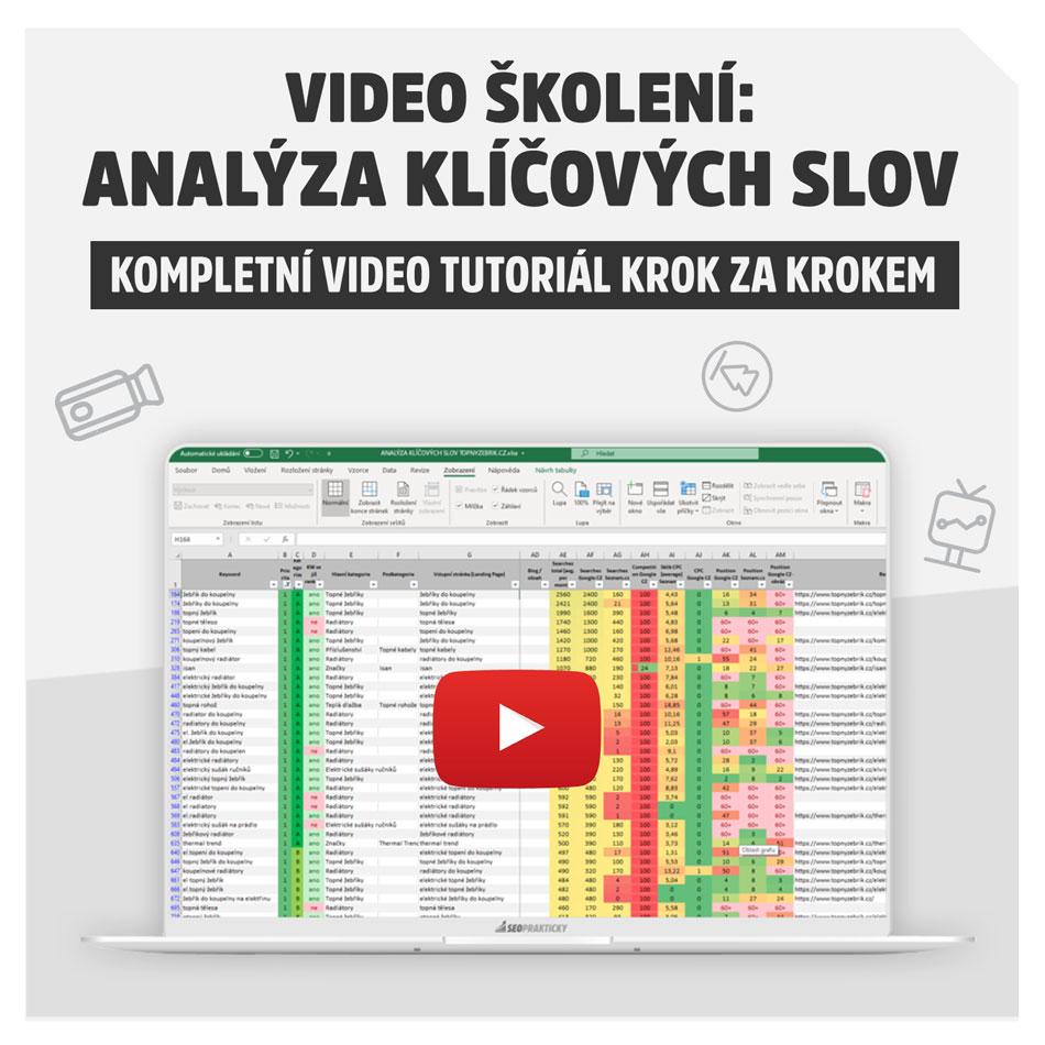 Video školení / kurz na tvorbu Analýzy klíčových slov