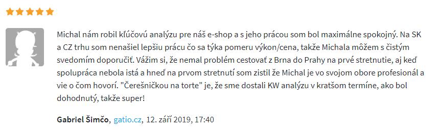 Reference na analýzu klíčových slov Gatio.cz