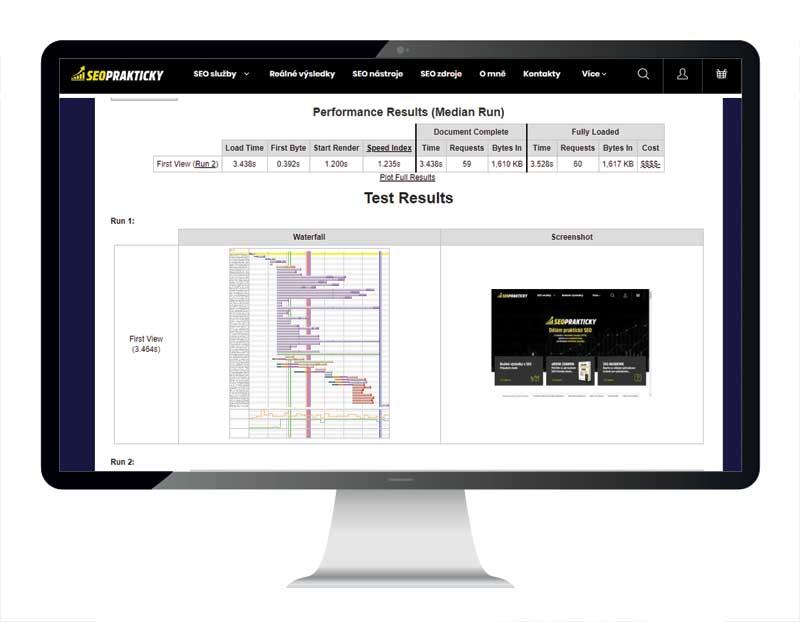 Rychlost načítání webu přes nástroj webpagetest.org