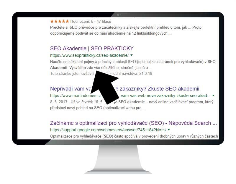 Popisek stránky, dává-li popisek z meta description vyhledávači smysl, zobrazuje stručnou informaci o obsahu stránky.