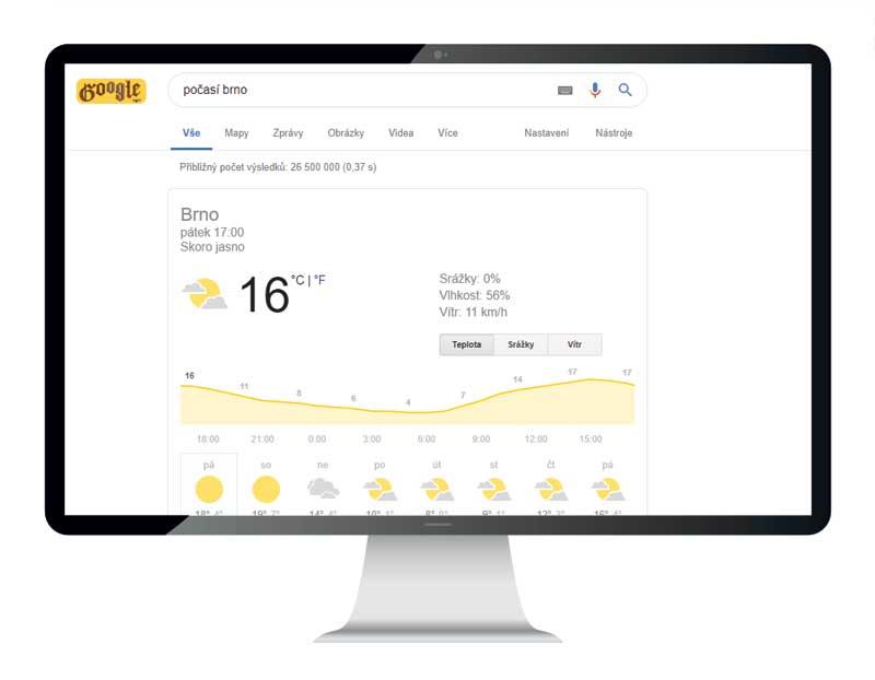 """Na hledaný dotaz """"Počasí Brno"""" dostanete v SERPu ihned odpověď. Ukázka přímé odpovědi vyhledávače."""