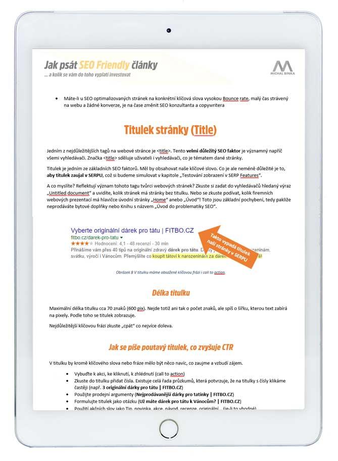 Ukázka z e-booku Jak psát SEO Friendly články - Title - titulek stránky
