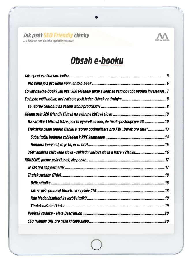 Obsah ebooku Jak psát SEO Friendly články