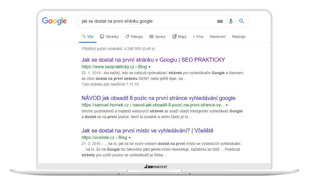 Jak se dostat na první stránku v Googlu