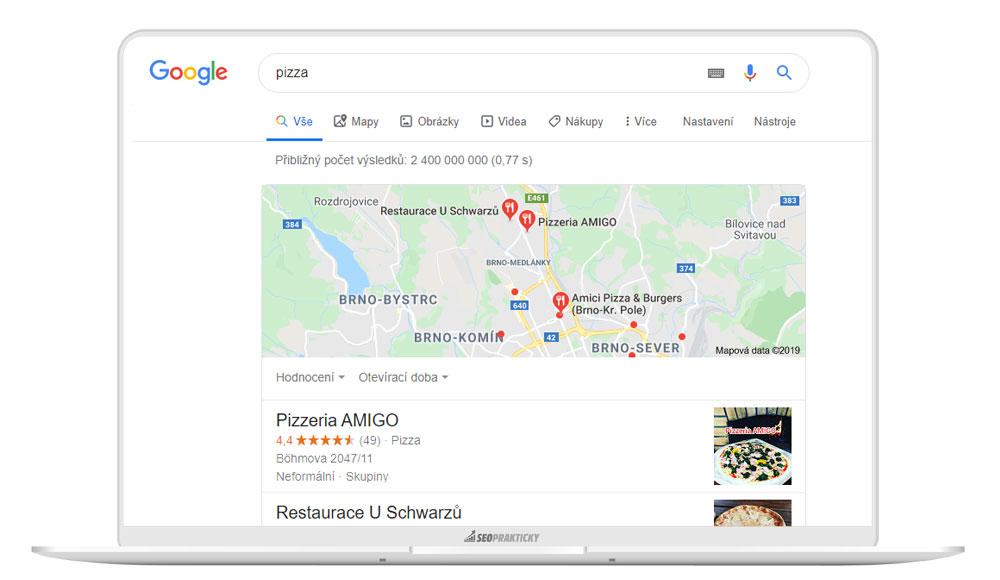 Ukázka, jak funguje lokální SEO - resp. výsledky vyhledávání.