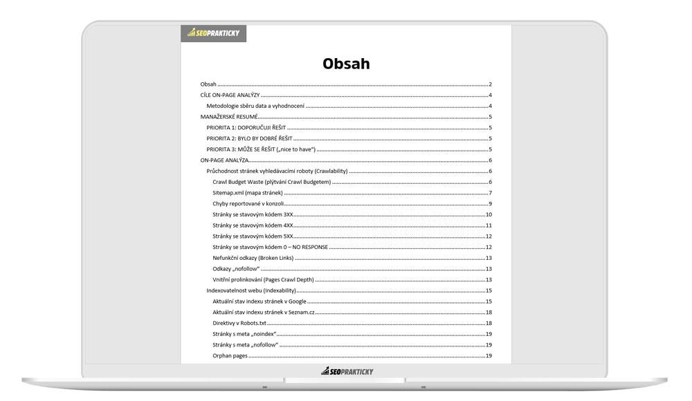 Obsah technické SEO analýzy