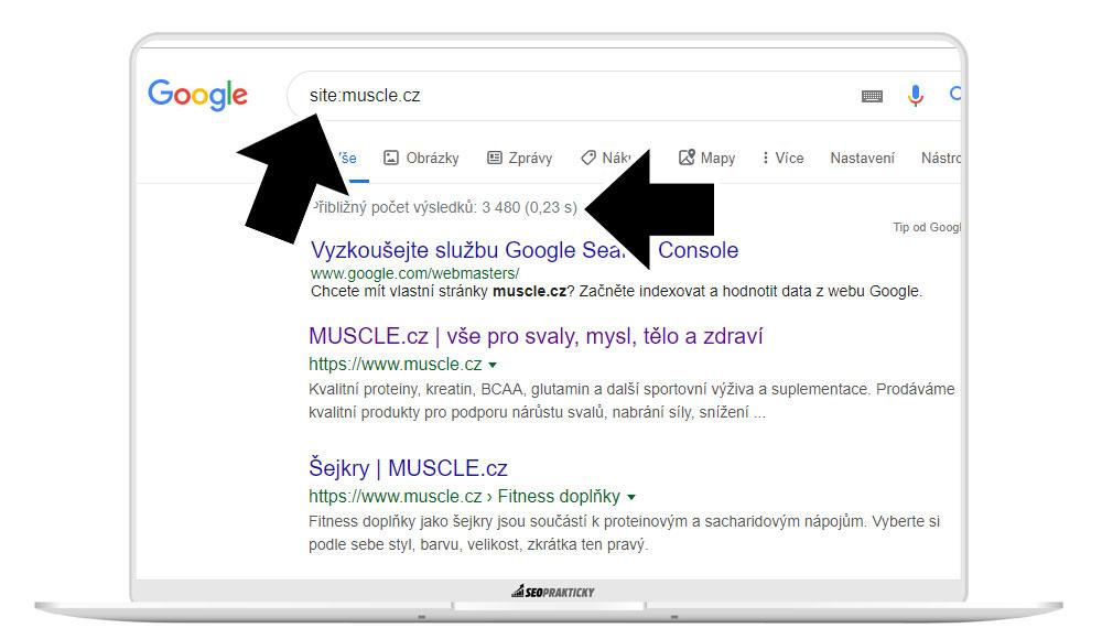 Použití operátoru site pro zjištění stavu indexu v Googlu