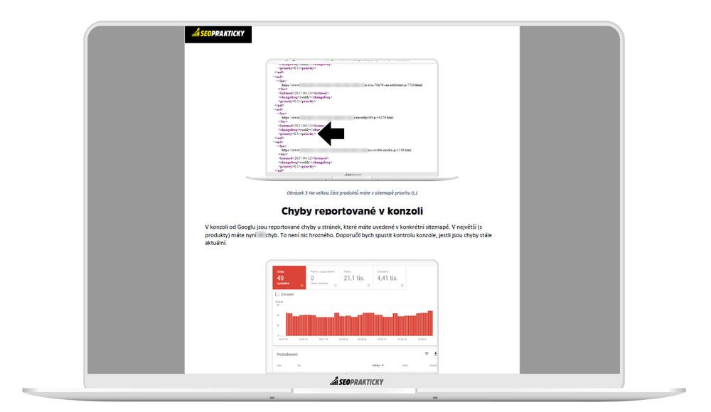 Analyzuji i strukturu samotné sitemapy. Dívám se na chyby reportované v GSC.