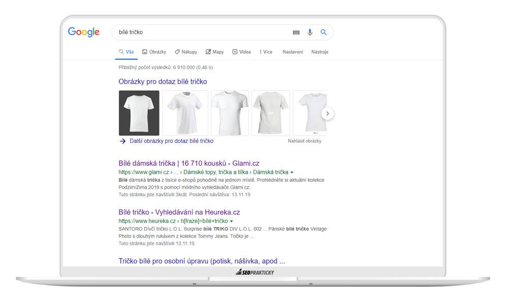 """TOP stránky v organickém vyhledávání na KW """"bílé tričko"""""""