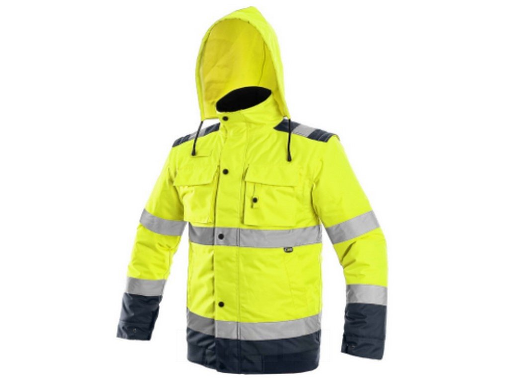 Canis CXS LUTON pánská výstražná bunda 2v1 žlutá modrá (Velikost/varianta 5XL)