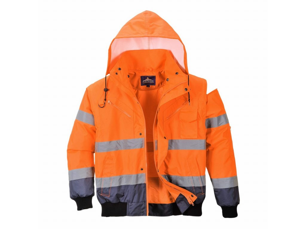 C465 BOMBER reflexní zateplená bunda oranžovomodrá (Velikost/varianta 5XL)