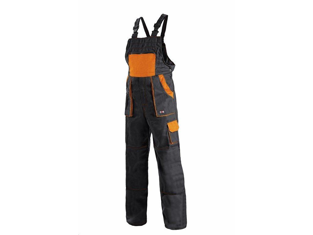 Canis CXS LUXY ROBIN kalhoty s náprsenkou černo-oranžové (Velikost/varianta 68)