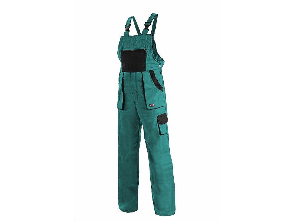 Canis CXS LUXY SABINA dámské kalhoty s náprsenkou  zeleno-černé (Velikost/varianta 58)