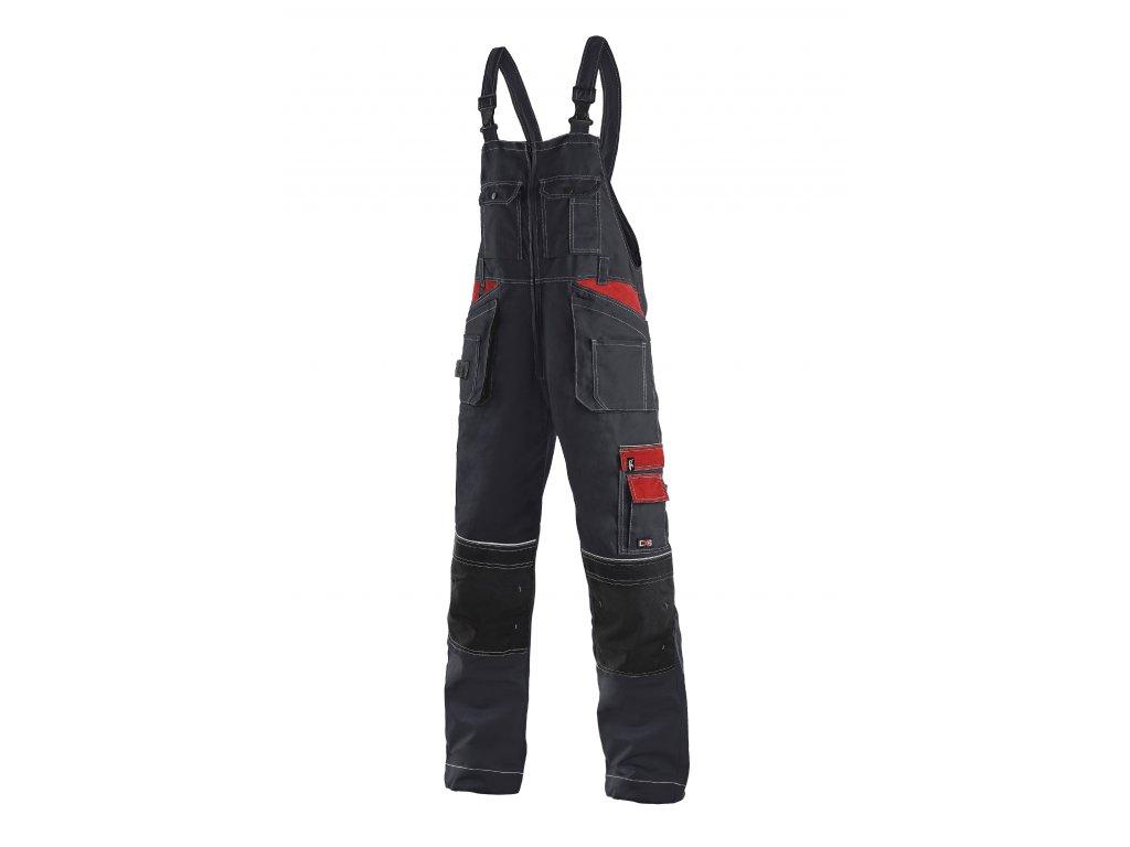 ORION KRYŠTOF kalhoty s náprsenkou černo-červená (Velikost/varianta 64)