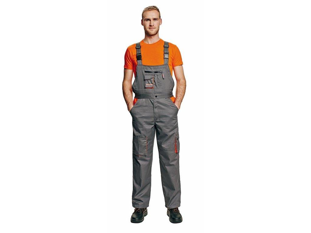 DESMAN monterkové kalhoty s laclem šedo-oranžové (Velikost/varianta 64)