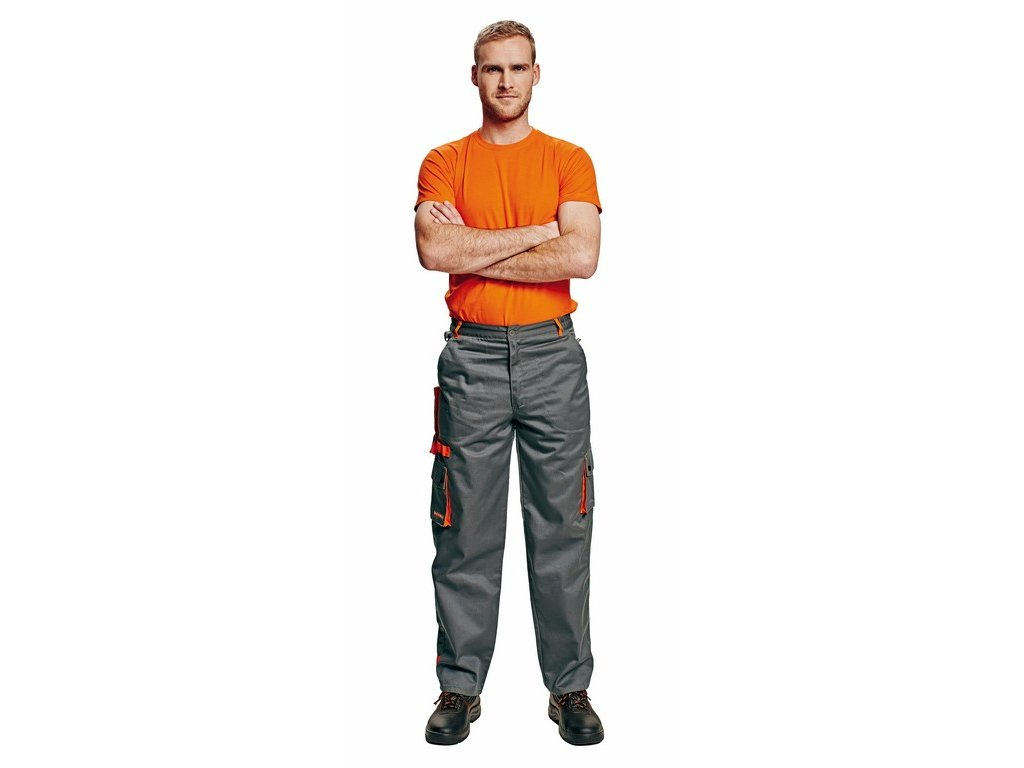 DESMAN monterkové kalhoty 2 v 1 šedo-oranžové (Velikost/varianta 62)
